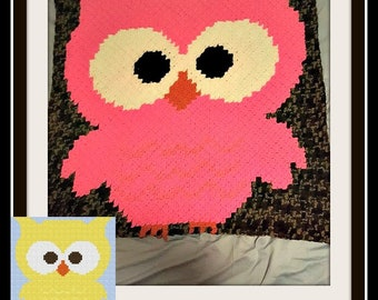 Owl Baby Afghan, C2C Graph, Written Word Chart, Owl C2C Graph, Corner to Corner, C2C Crochet