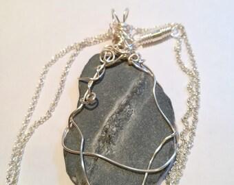 Handcrafted Wire Wrapped Slapton Sands Devon Grey Slate Pendant -3,Nature, Mystical, Yoga Jewelery,Boho,Unisex,UK,Beachstone,CelticJewelery