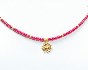 Ruby Lotus Necklace, India Inspired Jewelry, Buddhist Jewelry, Hindu Jewelry, Valentines Jewelry, Bridal Jewelry, Bridesmaid Jewelry