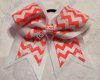 Small NEON ORANGE and White Glitter Chevron Hair Bow ~ Softball/Volleyball/Cheer/Soccer/Bowling/Gymnastics/Dance/Team ~ MTO