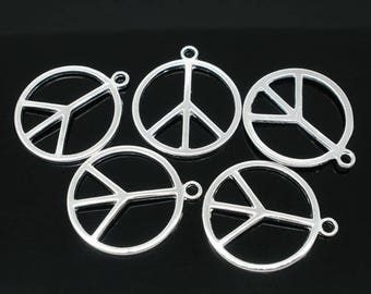 BULK 5 or 10pc Pkgs Silver Plated Peace Sign Charms - Peace Charms - Symbol Charms (SP04765)