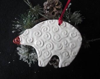 Pottery, Bear, Polar Bear, Souvenir, Ornament, Christmas, Cermamic, Handmade