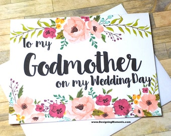 To my Godmother on my Wedding Day - Thank You Card - Wedding Day Card for God Mother - Godparents - Bridal Party Thank You Cards - MULBERRY