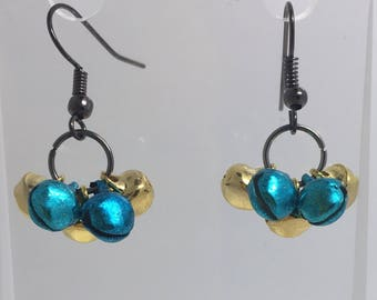 Christmas Jingle bells earrings, pendant charms made from tiny bells that jingle. Blue and gold coloured  A065