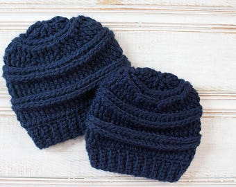 Chunky Crochet Mommy and Me Crochet Hats, Navy Blue Daddy and Me Beanies, Kids Hat, Hat for Dad, Child Hat, Unisex Hat,