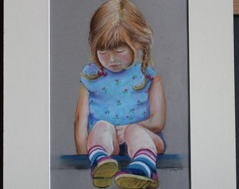 Penny For Your Thoughts-Little Girl Portrait - Original Pastel drawing=Gifts for Her