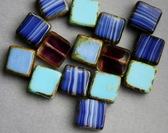 10mm Czech Glass Table Cut Squares Dark Blue Mix - Blue Bead Mix - Bead Soup Beads