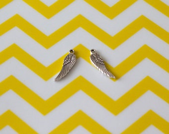 Set of 2 Angel Wings, 17 mm, silver charms
