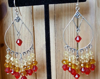Autumn Fire Sterling Silver Chandelier Earrings with Swarovski Crystals
