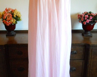Vintage Pink  Nightgown ~ 1960's Strawberry Pink Double Nylon Chiffon Long Nightgown ~ Pink Nightgown ~ Vintage Nightgown  ~ Long Nightgown