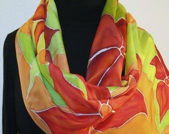 Silk Scarf Handpainted. Peach, Red, Lime Hand Painted Shawl. Handmade Silk Wrap HAWAIIAN GARDEN. Large 14x72. Anniversary Gift. Gift-Wrapped