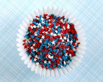 Mini Star Confetti Sprinkles, 4th of July Sprinkles, Star Sprinkles (3 oz) Red, White and Blue Star Sprinkles