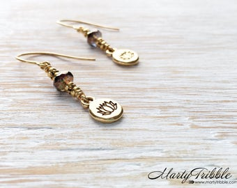 Gold Lotus Earrings, Boho Dangle Earrings, Flower Earrings, Gold Lotus Jewelry, Buddhist Jewelry, Yoga Earrings, Lotus Flower, Lotus Earring