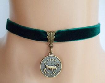 green velvet choker, aries choker, aries necklace, zodiac charm, antique bronze