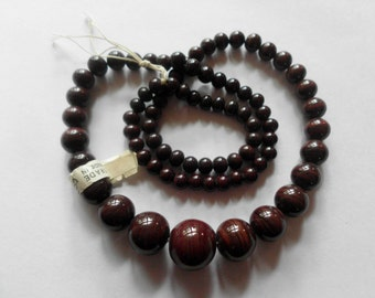 Japanese Glass Beads- Vintage- Chocolate Brown- Opaque- Set of 41