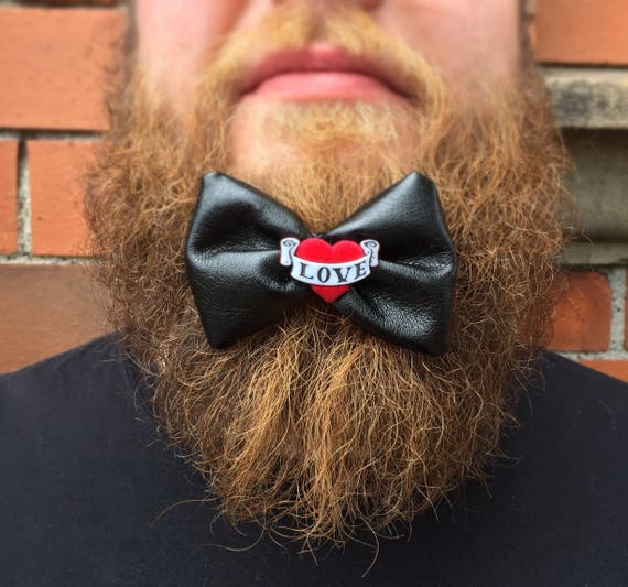 Black Leatherette Beard Bow Tattoo Rockabilly