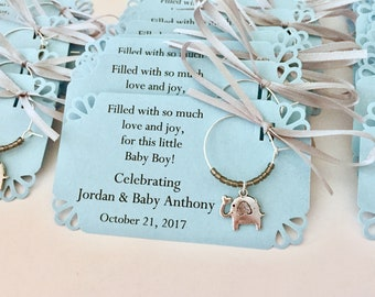 Elephant baby shower wine charm favors. Baby Boy Elephant and Little Peanut Baby Shower Favors & Elephant Party Favors. 1 to 50 favors.