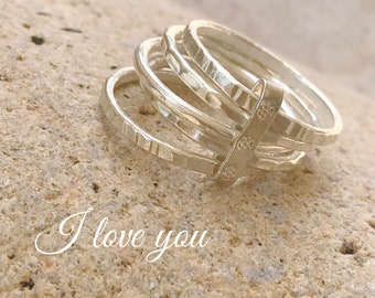 5 sterling silver bands ring