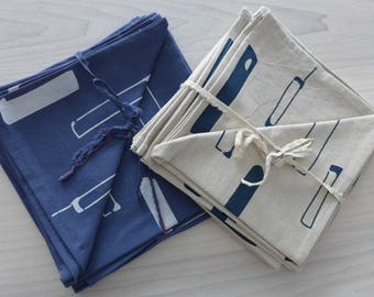 napkins, linen and cotton,  hand printed, natural or blue