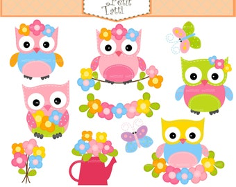 ON SALE owls and flowers clip art - owls clip art,summer clip art, baby owls clip art, flowers clip art