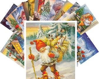 Postcards Set 24pcs * Christmas Gnomes by Lars Carlsson Vintage Illustration CC1116