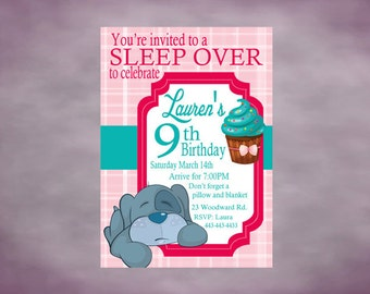 Slumber Party Invitation Birthday Party Invitation Personalized Sleep over Party Printable Invitation