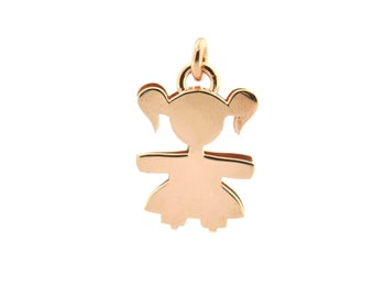 Baby Pendant double plate 925 sterling silver hypoallergenic, pink gold plated length 2 cm x 1.5 cm