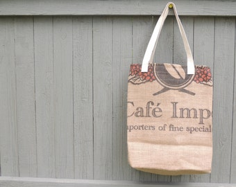 Burlap Market Bag - Wine Tote - Burlap Tote - Reusable Market Bag