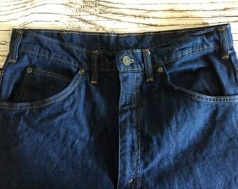 Vintage Denim Work Wear Jeans 33x34 / Dark Wash Sanforized Denim