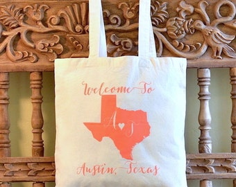 Custom Printed Wedding Welcome Canvas Totes, Personalized Canvas Tote Bags, Bachelorette Weekend Bags, Destination Wedding Favors