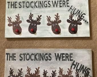 Reindeer stocking hanger