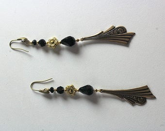 Earrings pendant style Art Deco and Jet Black faceted beads
