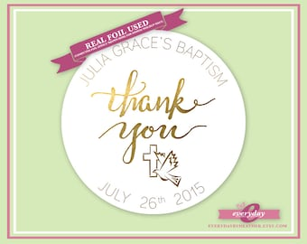 Personalized Foiled Thank You Stickers - Baptism