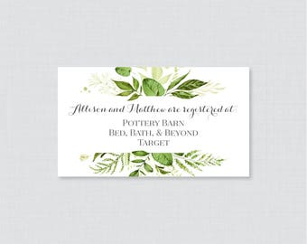 Printable OR Printed Wedding Registry Cards - Green Wedding Registry Invitation Inserts, Botanical Greenery Registry Inserts 0007