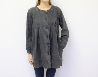 Baby Doll Trench Coat Gray Babydoll Womens Trench Loose Overcoat Cotton Raincoat Size Medium Large