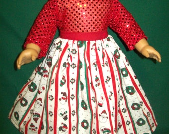"""Fits most 18"""" dolls - 2 piece Christmas skirt with sequined top"""