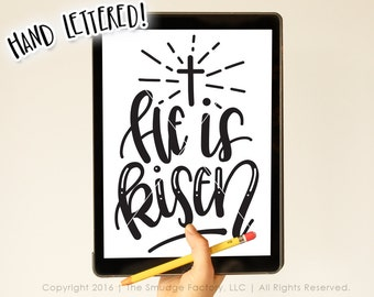 Easter SVG Cut File, He Is Risen Bible Verse Hand Lettered Calligraphy Silhouette, Cricut, Cutting File, Instant Download • DIY Easter Decor