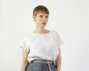 Eloise Linen tshirt, Stripe capsule wardrobe tee, Sustainable fashion linen top