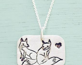 Silver fox necklace, unique jewelry gift, cute fox necklace, sterling silver fox jewelry, silver fox pendant, fox necklaces, unique necklace