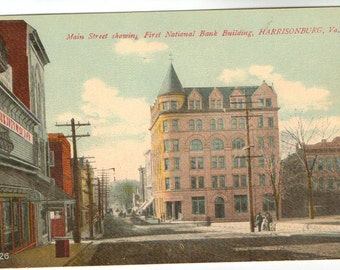 Vintage Postcard, Harrisonburg, Virginia, Main Street, First National Bank Building