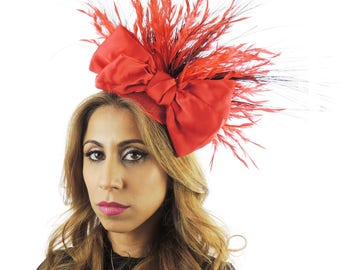 Gavriel rot und schwarz Fascinator Hut für Kentucky Derby, Hochzeiten & Bälle