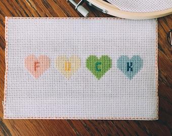 F U C K Pastel Hearts Cross Stitch