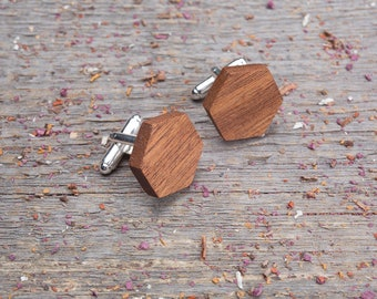 Wood Cufflinks, Wedding Groomsman set Cufflinks, Hexagon mahogany wooden cufflinks, boyfriend gift  groomsmen engraving customized cuff link