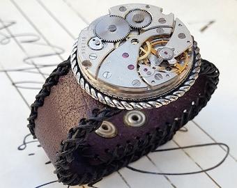Steampunk Mechanisam Leather Cuff Bracelet -Watch parts Vintage Bracelets-Wristband cuffs- Amazing Girlfriend Ladies gift