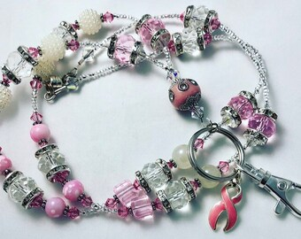 Breast Cancer Awareness Handcrafted Beaded Lanyard