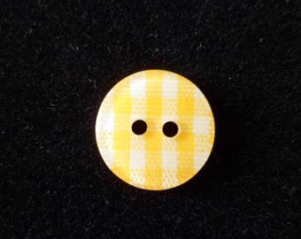 10 buttons sewing gingham yellow and white 12 mm