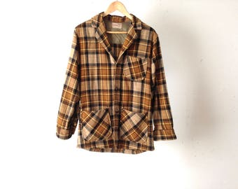 NIRVANA faded plaid SOFT flannel shirt tan & blue