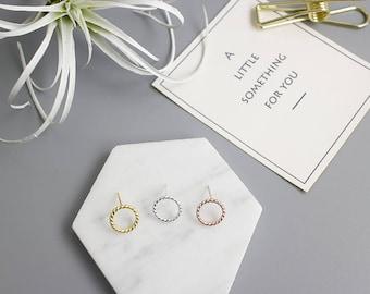 Silver Circle Stud Earrings, Sterling Silver, Rose Gold Color Earrings, Minimalist Earrings, Everyday Earrings, Gift for her,XIEandCOJewelry