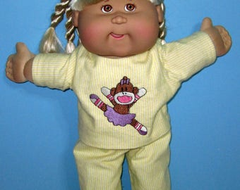 Cabbage Patch Doll Clothes, Sock Monkey Ballerina Pajama Set, CPK Classic Doll Clothes, 15 16 inch Doll Clothes, Birthday Gift