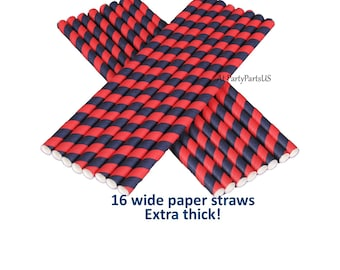 navy and red straws, graduation straws, school colors, party decorations, blue, red, paper smoothie straws, drink decor, bar supplies, team